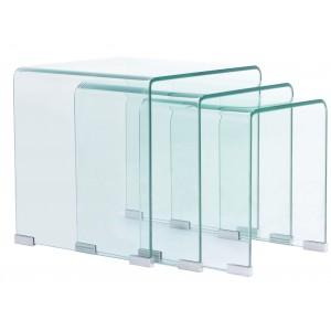 Set 3 tavolini ad incastro in vetro temperato