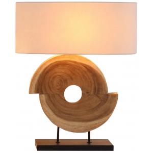 Lampada da tavolo legno naturale paralume in lino H.67cm