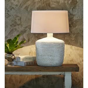 "Lampada da tavolo ""seagrass"" bianca, abat-jour cotone H.64cm"