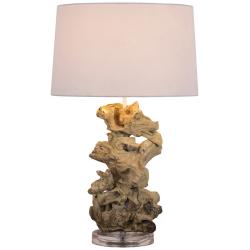 Lampada da tavolo legno intrecciato paralume cotone H.58cm