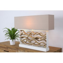 Lampada da tavolo legno galleggiante H.62,5cm paralume in lino Hana