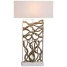 Lampada legno galleggiante paralume lino H.90,5cm design Hana