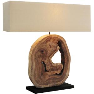 Lampada legno naturale paralume in lino H.92cm