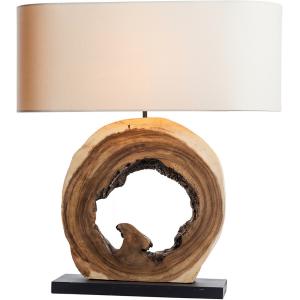 Lampada da tavolo legno naturale chiaro e paralume lino H.61,5cm