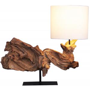 Lampada da tavolo legno galleggiante scuro H.52cm abat-jour cotone