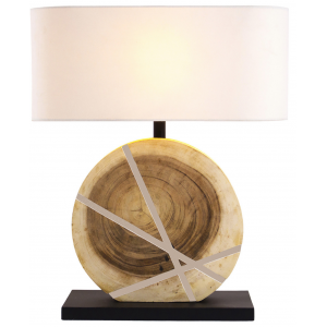 Lampada da tavolo legno naturale H.63cm abat-jour in lino