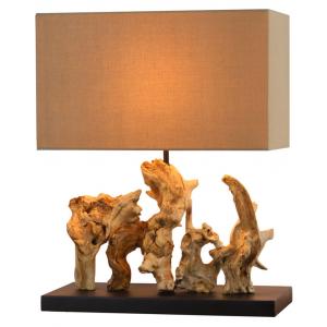 Lampada da tavolo legno galleggiante naturale abat-jour in lino
