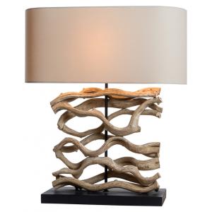 Lampada da tavolo legno galleggiante sbiancato H.60cm abat-jour lino