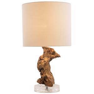 """Lampada da tavolo design """"torsade"""" legno naturale H.47cm abat-jour cotone"""