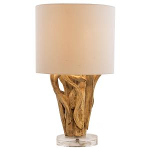 Lampada da tavolo legno galleggiante H.42cm e abat-jours in cortone linea Lanai