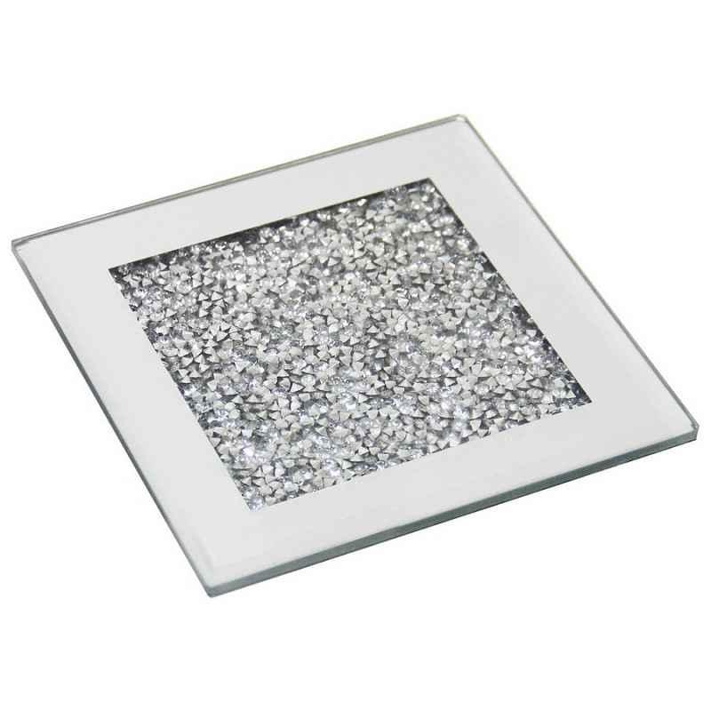 Sottobicchiere quadrato specchio e strass