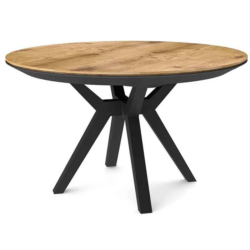 Tavolo da pranzo rotondo allungabile rovere chiaro piedi faggio massiccio nero Lisbonne