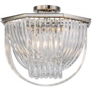Lampadario da soffitto design ottogonale metallo nickel e vetro chiaro