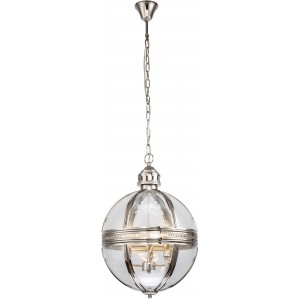 Lampadario globo 3 luci design metallo e vetro