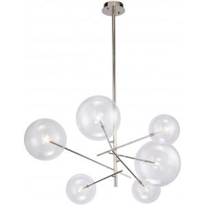 Lampadario design 6 globi in vetro, metallo cromato