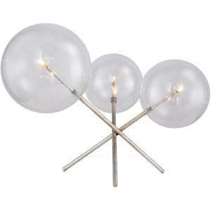Lampada da tavolo 3 globi in vetro, effetto argento invecchiato