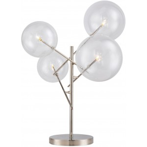 Lampada da tavolo led 4 globi in vetro, metallo cromato