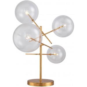 Lampada da tavolo led 4 globi vetro, finizione foglia d'oro
