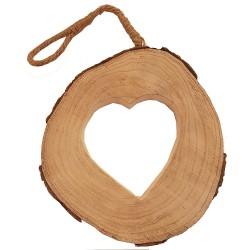 Addobbo natalizio tronco in legno scolpito cuore