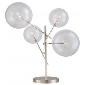 Lampada da tavolo led 4 globi vetro, finizione metallo argentato