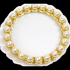 Sottobicchiere dorato perle bianche