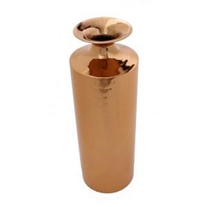 Vaso cilindrico in metallo ramato e martellato pezzo unico h.40 cm