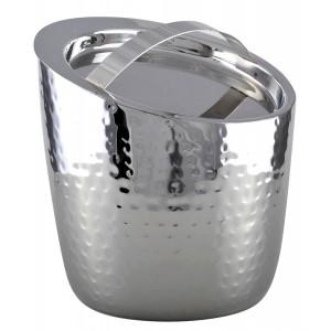 Secchio per il ghiaccio in alluminio martellato a doppia parete con coperchio