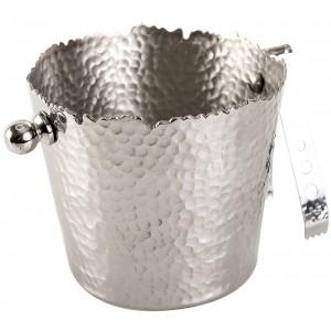 Secchio per il ghiaccio in metallo martellato con una pinza