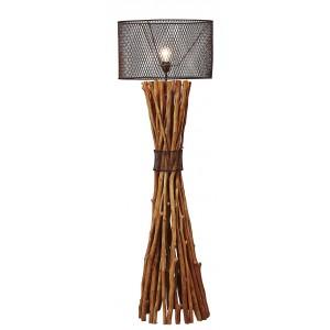Lampada da terra in legno e paralume in metallo H.149 cm Milolii