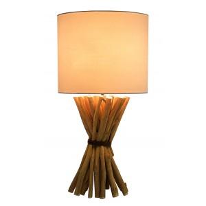Lampada da tavolo in legno e paralume cotone H.54 cm Milolii