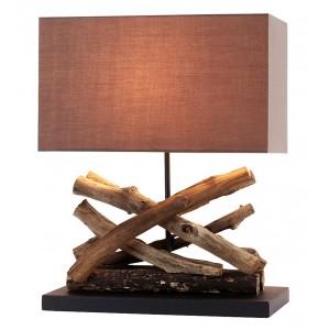 Lampade da tavolo in legno paralume rettangolo in cotone H.50 cm Akoa