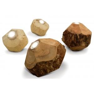 Lampade da tavolo o terra legno naturale rotondo irregolare D.30 cm Kukio