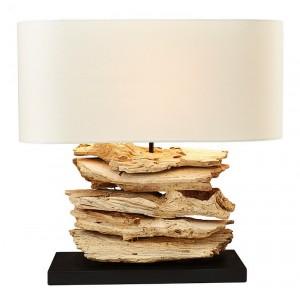 Lampade da tavolo legno naturale paralume in lino H.50 cm Keokea