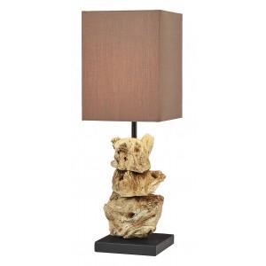 Lampade da tavolo legno naturale a forma de sasso paralume in cottone H.44 cm Lanai