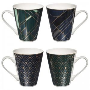 Lotto di 4 tazze da tè blu notte e blu turchese