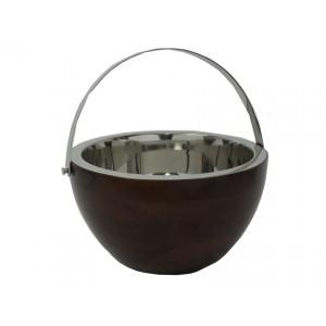 Secchiello champagne pezzo unico in acciaio inox e legno