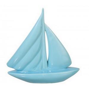 Barca decorativa in porcellana blu