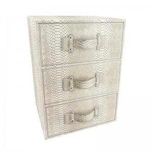 Table de chevet 3 tiroirs façon serpent blanc