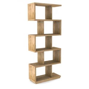 Libreria mensola in legno rovere chiaro e metallo nero L.80xl.34xH197 cm
