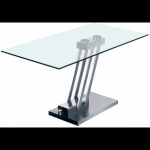 Tavolo in vetro e metallo cromato o spazzolato Sao Paulo