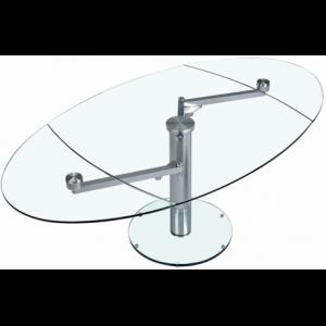 Tavolo da pranzo in vetro estensibile e metallo cromato o spazzolato Théo
