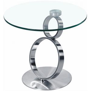 Tavolino vetro temperato e piede metallo cromato o spazzolato Julia
