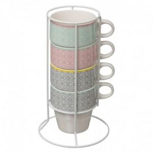 Serie di 4 tazze su supporto Moza colori pallidi