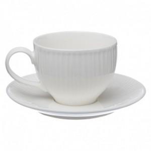 Coppia di tazze e loro piattino 25 cl Opera bianca