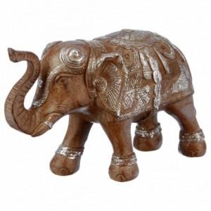 Elefante in resina sbiancata/marrone H.15cm